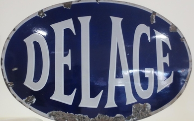 A Delage enamel sign,