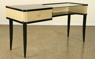EBONIZED MID CENTURY MODERN CONSOLE GLASS TOP