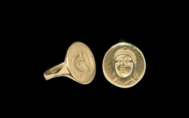 Greek Gold Ring with Veiled Face