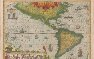 "Hondius' Important Map of the Americas, ""America"", Hondius, Jodocus"