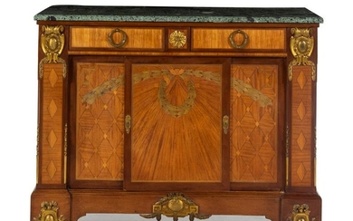 A Louis XVI Style Gilt Bronze Mounted Marquetry Cabinet