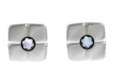 MONTBLANC - a pair of 18ct gold cufflinks.