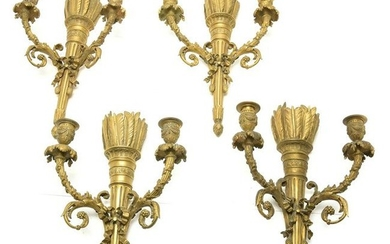 Neoclassical Style Set of Four Gilt Bronze Two Light
