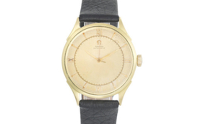 Omega. An 18K gold bumper automatic wristwatch