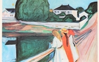1907/766: Edvard Munch: Exhibition poster from Louisiana 1975. Signed in print E. Munch. Lithographic poster in colours. Sheet size 91 x 62 cm.