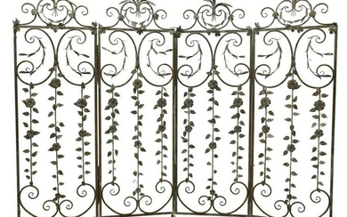WROUGHT IRON FOLIATE DECORATED FOUR-PANEL SCREEN