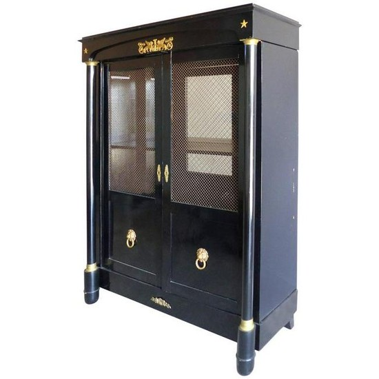 French Empire Lacquered Bibliotheque with Bronze