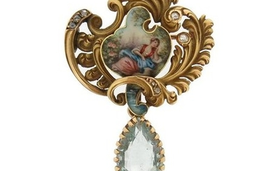 A 19th century gem-set and enamel gold brooch...