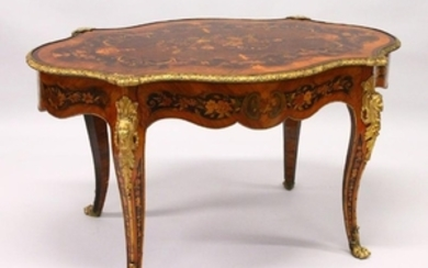 A VERY GOOD LOUIS XVI STYLE FRENCH MARQUETRY AND ORMOLU