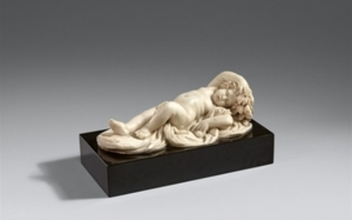 An 18th century marble figure of a sleeping p ...