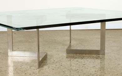 SUBSTANTIAL GLASS STEEL COFFEE TABLE C.1970