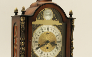 WALNUT VENEERED ARCH TOP BRACKET CLOCK