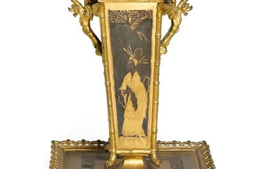 A FRENCH PATINATED & GILT BRONZE CENTERPIECE