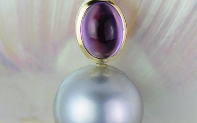 14 kt. Yellow gold - Tahitian pearl 10.8 mm - pendant with amethyst