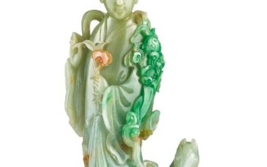 A LARGE JADEITE FIGURE OF AN IMMORTAL LATE QING DYNASTY