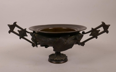 A C19th French bronze two handled censer/urn with raised bar...