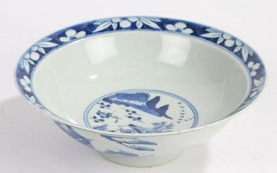Chinese blue and white porcelain bowl, the exterior