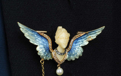An Art Nouveau gold, carved ivory female bust brooch, with enamel and diamond wings, suspending a pearl.