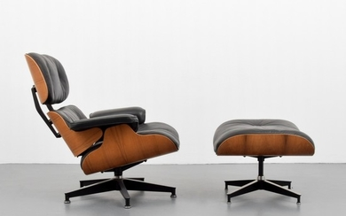 Charles & Ray Eames; Herman Miller - Charles & Ray Eames Rosewood Lounge Chair & Ottoman