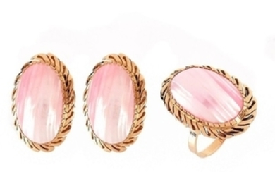 14K and Shell Ring and Earrings