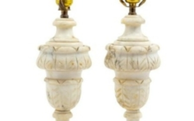 A Pair of Alabaster Lamps Height 17 3/4 inches
