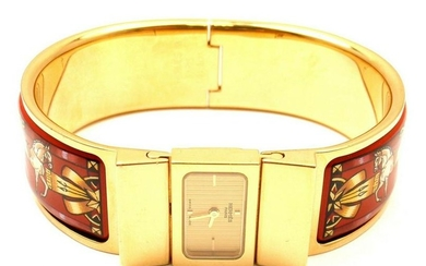 AUTH HERMES LOQUET RED HORSE EQUESTRIAN MOTIF BANGLE