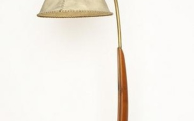CARVED WOOD BRASS NATURALISTIC FLOOR LAMP C.1950