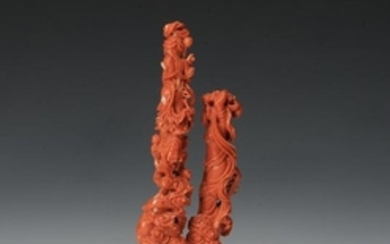 Coral Carving of Ladies w/ Stand, 20th Century