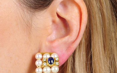 A pair of cultured pearl, diamond, ruby and sapphire earrings.