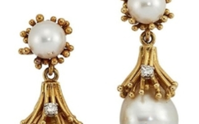 A pair of diamond and cultured pearl...
