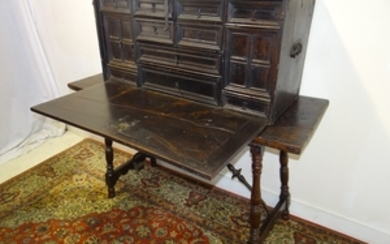 EARLY FITTED WALNUT DOCUMENT CABINET ON STAND