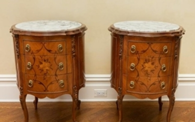 Marble Top Floral Marquetry Inlaid Commodes
