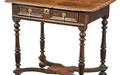 A Rare William and Mary Oak Dressing Table