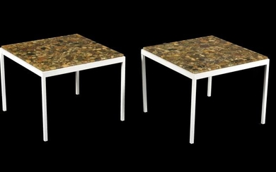 A pair of square travertine top lamp tables