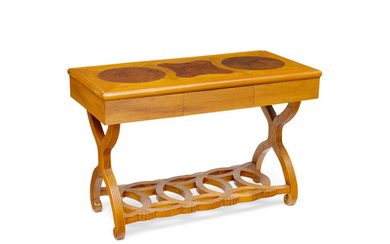 A Biedermeier Style Birch and Walnut Side Table