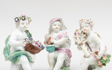 Group of Three English Porcelain Putti Allegorical of