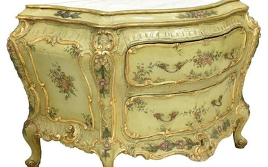 VENETIAN LOUIS XV STYLE PAINTED BOMBE COMMODE