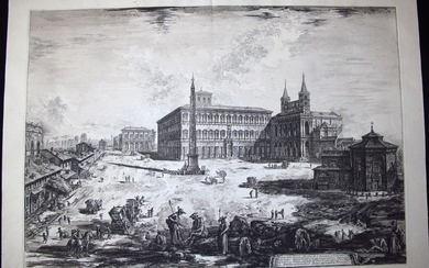 Piranesi, Giovanni: THE PIAZZA AND BASILICA OF S. GIOVANNI IN LATERANO WITH THE OBELISK, Year 1775.
