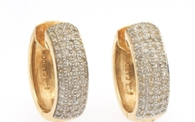 A Pair of Gold and Pave Diamond Reversible Huggie Earrings