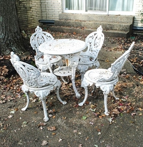 Antique Cast Iron Patio Table And Chairs