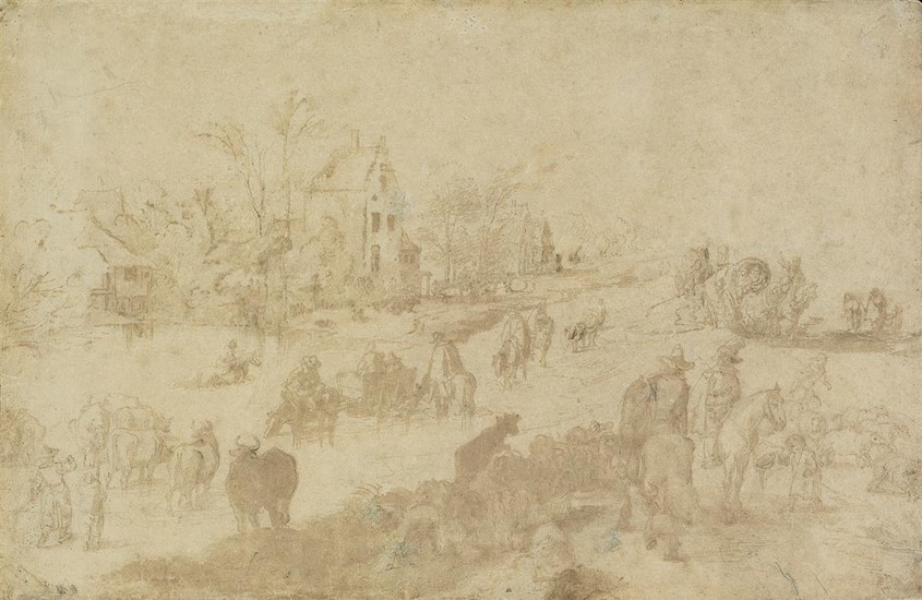 JAN BRUEGEL THE YOUNGER (Brussels 1601 1678 Antwerp) A Country Landscape at the Edge of a Village with a Herd of Cattle and Figures on