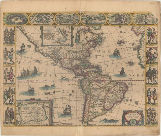 "Jansson's Carte-a-Figures Map of the Americas, ""America Noviter Delineata"", Hondius/Jansson"