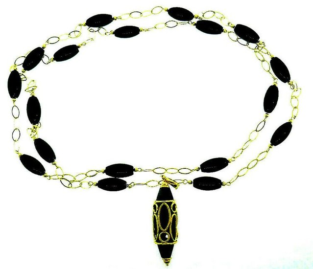 Milor Onyx 14k Yellow Gold Pendant Necklace