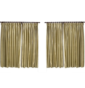 Lot Art Two Velvet Pairs Of Custom Black Out Curtains With Drapery Rods
