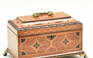 English Chippendale Brass-Mounted Inlaid Mahogany Tea