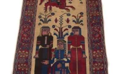 Semi-Antique Hand-Knotted Pictorial Signed Tabriz Carpet