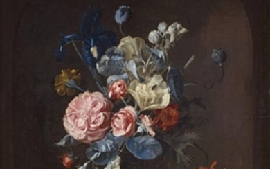 Willem van Aelst, Glass Vase with Roses, Iris, Marigolds, and T ...