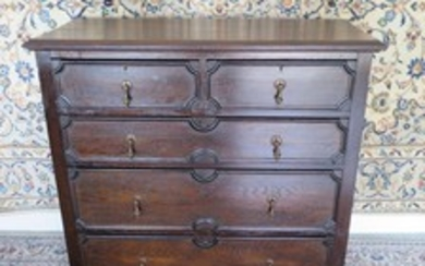 A Circa 1920's oak Charles II style chest of drawers - 107cm...