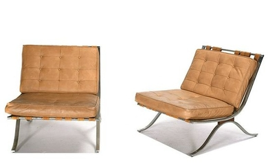 Pair of Mid-Century Modern Barcelona Style Chairs.
