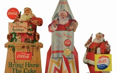 LOT OF 3: COCA-COLA & PEPSI SANTA EASEL-BACK SIGNS.